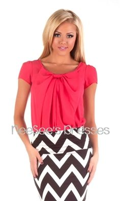 Coral Chiffon Front Bow Top   Affordable Boutique Clothes   Trendy Modest Clothing $35 Medium