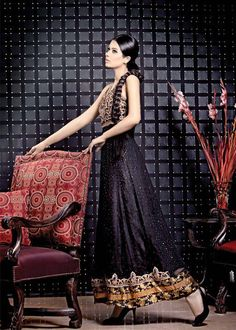 black anarkali - pakistani fashion
