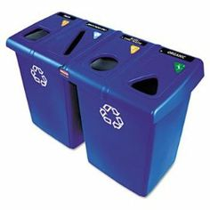 Glutton Recycling Station, Rectangular, Plastic, 92 gal, Blue