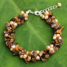 Handmade Beaded Bracelet with Tiger's Eye and Pearls - Gracious Lady | NOVICA