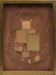 """PIZA, ARTHUR LUIZ (1928 - 2016) """"Composição"""", óleo s/ tela com colagem. 34 x 27. Assinado no c.i.d."""