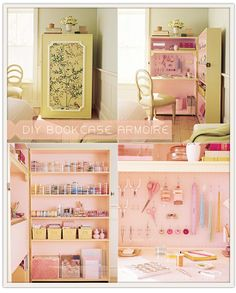 DIY Bookcase Armoire for small space craft storage. Craft Room Storage, Craft Organization, Craft Rooms, Scrapbook Organization, Paper Storage, Organizing Tips, Do It Yourself Inspiration, Room Inspiration, Space Crafts