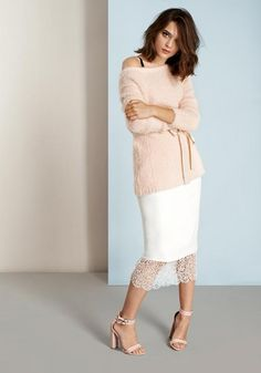 A story that brings together the high street and the boutique. Designed in London. Block Heels Outfit, Heels Outfits, Pencil Heels, Ss16, Lace Skirt, Feminine, Jumper, Sandal, Style Inspiration