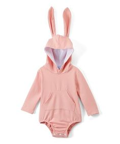Another great find on #zulily! Pink Bunny Hooded Bodysuit - Infant #zulilyfinds