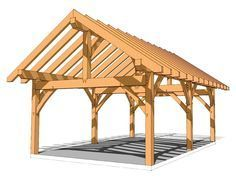 """16x24 Timber Frame Plans - http://timberframehq.com/16x24-timber-frame-plan/ - This versatile plan could be finished out as a storage shed, a picnic pavilion or even a glamping cabin. It measures 16' wide by 24' deep, with two generous bays. Enclose the entire structure, or enjoy part of it as a delightful porch. The plate height of 9'10"""" creates a roomy interior. http://timberframehq.com/16x24-timber-frame-plan/"""