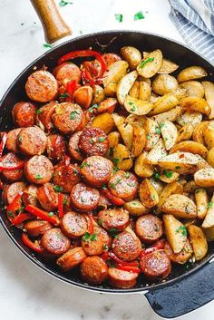 Smoked Sausage and Potato Skillet – Sizzle up a skillet full of delicious goodness with smoked sausage, potatoes, and bell peppers! Baby potatoes are quickly sauteed then paired with savory s… Smoked Sausage Recipes, Pork Recipes, Cooking Recipes, Smoked Sausages, Farro Recipes, Cookbook Recipes, Sausage And Potatoes Skillet, Sausage Potatoes And Peppers, Sausage Skillet Recipe