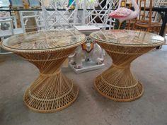 Pair of Vintage Rattan Drum Tables