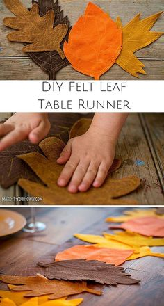 Kid-Made DIY Fall Felt Leaf Table Runner. Create a gorgeous Fall setting with th… Advertisements Kid-Made DIY Fall Felt Leaf Table Runner. Create a gorgeous Fall setting with this easy tutorial that gets kids involved in setting the table. Fall Felt Crafts, Autumn Crafts, Felt Diy, Diy Autumn, Leaf Table, Diy Table, Thanksgiving Crafts, Fall Placemats, Diy For Kids