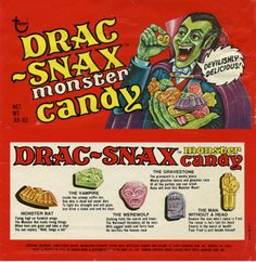 Drac-Snax Monster Candy by Topps Retro Halloween, Halloween Goodies, Halloween Candy, Fall Halloween, Happy Halloween, Halloween Images, Halloween Printable, Halloween Scene, Halloween Stuff