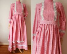 vintage-70-039-s-LAURA-ASHLEY-cotton-amp-lace-crochet-Made-in-Wales-praire-folk-dress