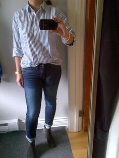 Striped boyfriend shirt and skinny jeans