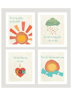 """""""You Are My Sunshine"""" Children's Wall Art Prints, Set of - contemporary - Nursery Decor - Children Inspire Design Childrens Wall Art, Art Wall Kids, Wall Art Sets, Nursery Wall Art, Nursery Decor, Nursery Ideas, Nursery Prints, Mothers Day Crafts For Kids, Playroom Decor"""