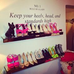 Shoe Storage for inside the walk-in-closet. The shoes are ugly but it's a cute idea My New Room, My Room, Ideias Diy, Dream Closets, Walk In Closet, Shoe Closet, Closet Space, Master Closet, Closet Wall