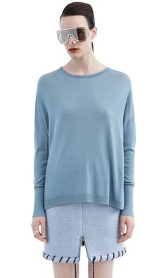 Acne Studios Carel Merino Dark Ice Blue Wide, cropped sweater