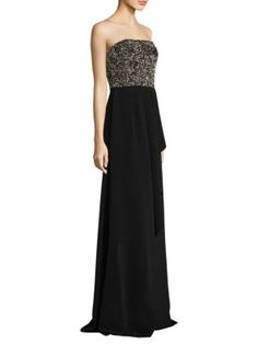DAVID MEISTER Strapless Beaded Floor-Length Gown. #davidmeister #cloth #