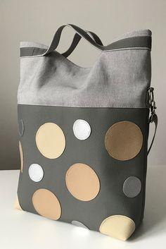 Shoulderbag, messengerbag, bag, Silver, grey, beige, polka dots.