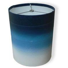 """10"""" Drum Lamp Shade, Dark Blue Watercolor"""