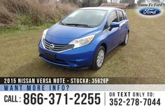 2015 Nissan Versa Note SV - Mid-Size Sedan - I-4 1.6L - Remote Keyless Entry - Steel Wheels - Tinted Windows - Safety Airbags - Seats 5 - Power Windows, Locks & Mirrors - AM/FM/CD/MP3 - iPod/Aux/USB/Bluetooth - Outside Temperature Display - PureDrive - Cruise Control and more!