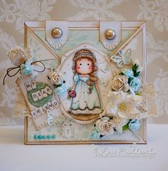 Beautiful crisscross card.  I think this is Romantic Tilda.