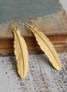 Gold FEATHER EARRINGS Woodland Nature Bird