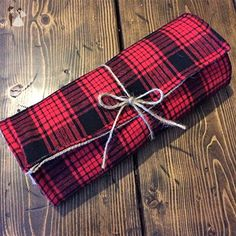 Red Plaid & Natural Burlap Table Runner-Reversible - Wedding table decor (*Amazon Partner-Link)