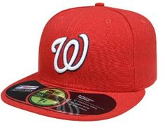 MLB Washington Nationals Authentic On Field Game 59FIFTY Cap by New Era. $19.69. Officially licensed by Major League Baseball. Embroidered Team logo with American flag background outlined in white. 100% Polyester fitted Authentic Baseball Cap as worn by all players on the field. Made in the USA. Cool Base technology wicks moisture away from the head. Amazon.com                The official on-field cap of Major League Baseball, New Era's 59FIFTY cap is the same one ...