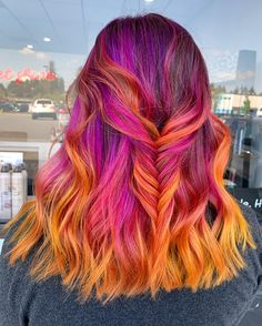 🌅Firey Sky🌅Pretty sunset melt by - try our Sunset Pack for a similar look! Pink And Orange Hair, Dark Red Hair, Pink Hair, Beautiful Hair Color, Cool Hair Color, Side Braid Hairstyles, Cool Hairstyles, Beautiful Hairstyles, Sunset Hair