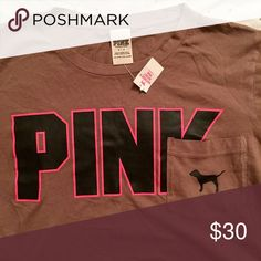 VS PINK Pocket Campus Tee NWT size small, love the different color! PINK Victoria's Secret Tops Tees - Short Sleeve