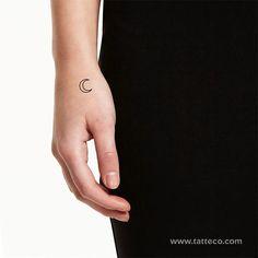 Crescent Moon Outline Temporary Tattoo (Set of – Tatteco Toe Nail Art, Acrylic Nails, Temporary Tattoos, Small Tattoos, Tattoo Designs, Nail Designs, Tattoo Set, Orange Nails, Manicure