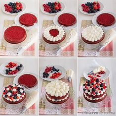Red Velvet Sponge Cake with Red Fruits Olives in the … – Cupcake Recipes Mini Cakes, Cupcake Cakes, Cupcakes Fondant, Red Velvet Cake Rezept, Red Velvet Cake Decoration, Nake Cake, Cake Recipes, Dessert Recipes, Number Cakes
