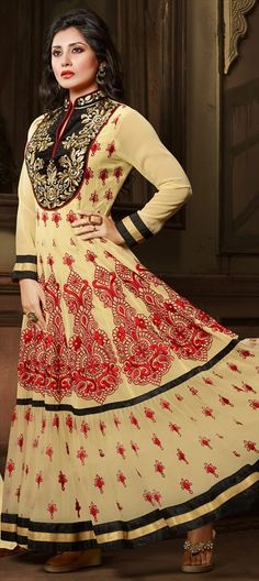 Full Length #SalwarKameez with detailed #Embroidery  443022 Beige and Brown  color family Bollywood Salwar Kameez in Faux Georgette fabric with Lace, Machine Embroidery, Patch, Resham work . #Embroidery #DesignerWears #Occasion #IndianDresses #Partywears #Indian #Women #Bridalwear #Fashion #Fashionista #OnlineShopping #suit #salwarsuit