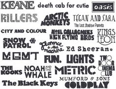 MGMT, FUN., NOAH AND THE WHALE, MUMFORD & SONS, CITY AND COLOUR, TEGAN AND SARA, etc.