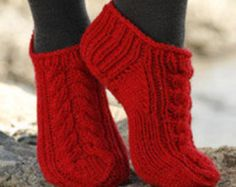 Items similar to Ankle Socks with Cable Knit Design -You Pick Color- on Etsy