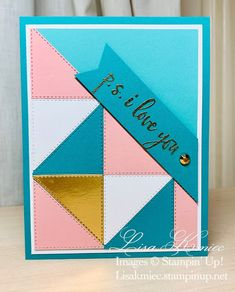 Simply Stamping with Lisa Kmiec: Ridiculously Awesome Triangles for Color Throwdown Card Making Templates, Card Making Kits, Card Making Supplies, Card Making Tutorials, Cool Cards, Diy Cards, Handmade Cards, Right Triangle, Paper Craft Making
