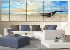 Canvas Art Print Sea and Boat on Beach - Extra Large Wall Art Canvas Print, Large Seascape Ocean and Beach Canvas Prints