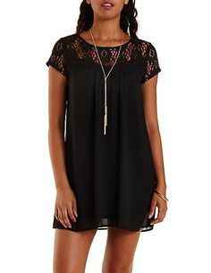 Crochet & Chiffon Babydoll Dress: Charlotte Russe #dress #crochet #babydoll