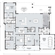 You might like this floor plan today! It's considered a farmhouse design because of the verandah and overall width. I like this layout. It seems to have everything in the right places. The laundry/mudroom/kitchen is great. I like the bench. House Plans One Story, Dream House Plans, House Floor Plans, Free Floor Plans, The Plan, How To Plan, Single Storey House Plans, Built In Robes, Storey Homes