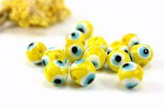 10mm Evil Eye Glass Bead 40pcs Yellow Glass Evil Eye by Cchange