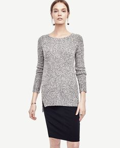 Marled Crew Neck Tunic Sweater | Ann Taylor