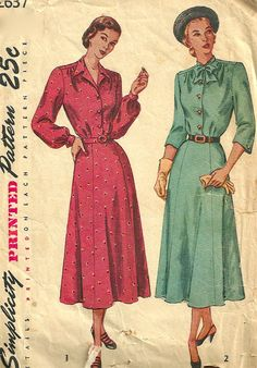 Simplicity 2637 1940s Misses Shirtwaist DRESS  Pattern Soft Gathers 3/4 or Bishop Sleeves Womens Vintage Sewing Pattern Size 40 NO ENVELOPE