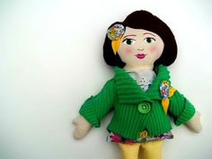 Cloth Doll, Rag Doll with Upcycled Green Sweater, via Etsy.