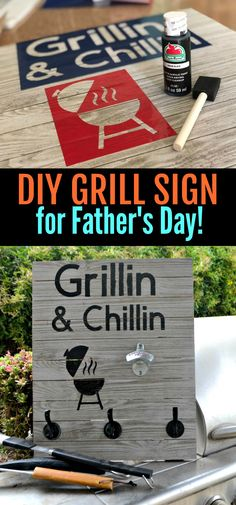 Make dad a special sign that hangs all his grilling tools this Father's Day!