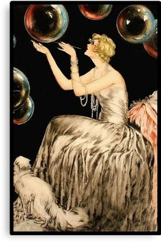 An enchanting Whimsical French Art Deco era Fashion illustration of a woman playing with huge bubbles as her cat looks on attentively. Created during the early turn of the Century France. Vintage art professionally restored to its original beauty. Art Vintage, Retro Art, Arte Art Deco, Art Deco Artists, Art Deco Era, Jules Cheret, Art Deco Paintings, Art Deco Artwork, Vintage Illustration Art