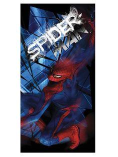 Spider-Man-pyyhe Muhkeassa pyyhkeessä väijyy Hämähäkkimies! Miellyttävän pehmeän pyyhkeen koko on 75 x 150 cm. Pesu 40 asteessa. 100 % puuvillaa.