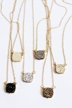 Druzy Pendant Necklace Set