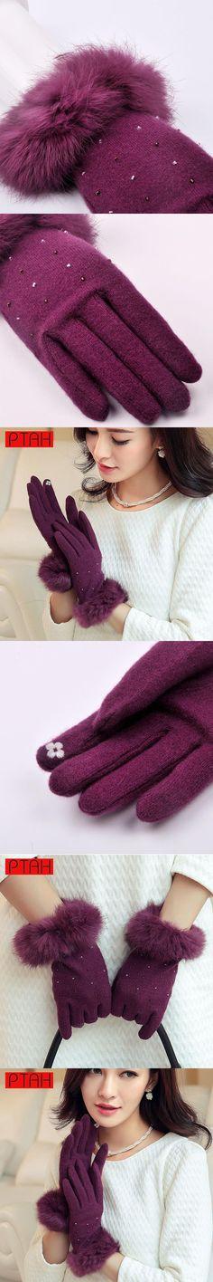 PTAH Winter Women Wool Rabbit Fur Wrist Gloves Solid Luxury Iglove Lady Fashion High Quality Warmth Mittens 24CM Guantes PT9810