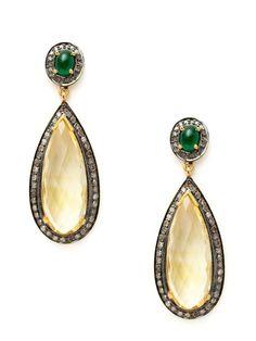 Oval Emerald & Citrine Teardrop Earrings by Amrapali on Gilt.com