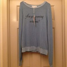 20% off bundles NWT Wildfox Coming With Me BBJ NWT size medium Wildfox are you coming with me. Signature piling seen through out piece. Most beautiful blue ever! Wildfox Sweaters