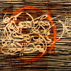 Moroccan Artist Larbi Cherkaoui Oil, Acrylic, and Ink on Goat Skin