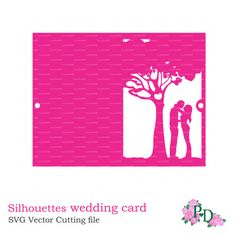 Bride & Groom silhouettes wedding card love story tree Invitation (DXF, SVG, PNG…